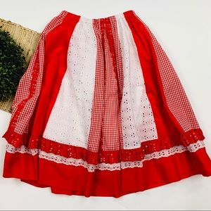 VINTAGE Gingham Eyelet Ruffle Halloween Skirt